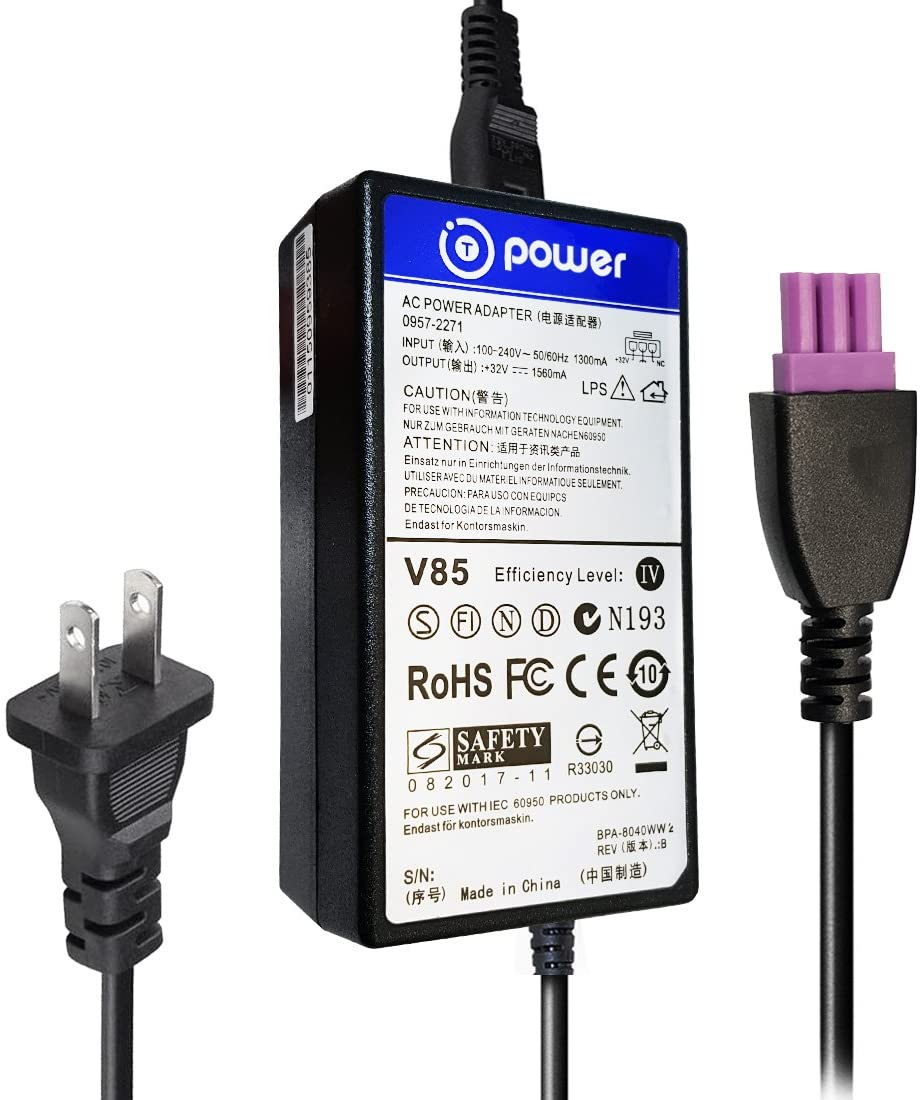 T-Power 32v Ac Dc Adapter Charger Compatible with HP Deskjet Ink Advantage All-in-One Series Color Printer Power Supply (3-Pin Purple Tip)