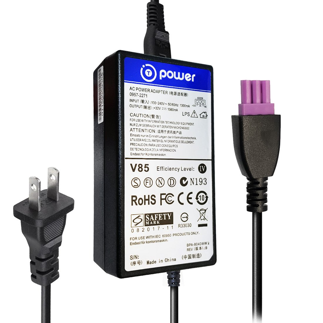 Amazon.com: T POWER 32v for HP Photosmart / Officejet Advantage All-in-One  Series Color Printer Power Ac Dc Adapter Charger PSU ( 3-Pin Purple Tip ):  ...