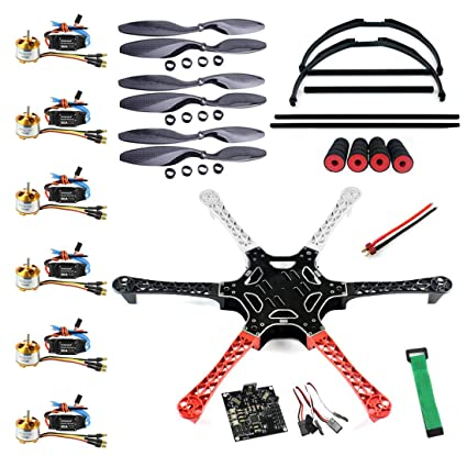QWinOut F550 Airframe RC Hexacopter Drone Kit DIY PNF Unassembly Combo Set  with Kkmulticopter Flight Controller for Beginners (No Battery and Remote
