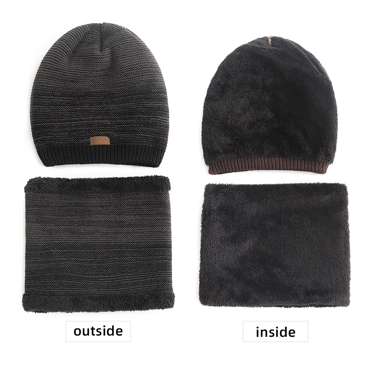 NovFort 2-Pieces Mens Beanie Hat Scarf Set Winter Warm Knit Slouchy Thick Fleece Lined Skull Cap for Men Unisex