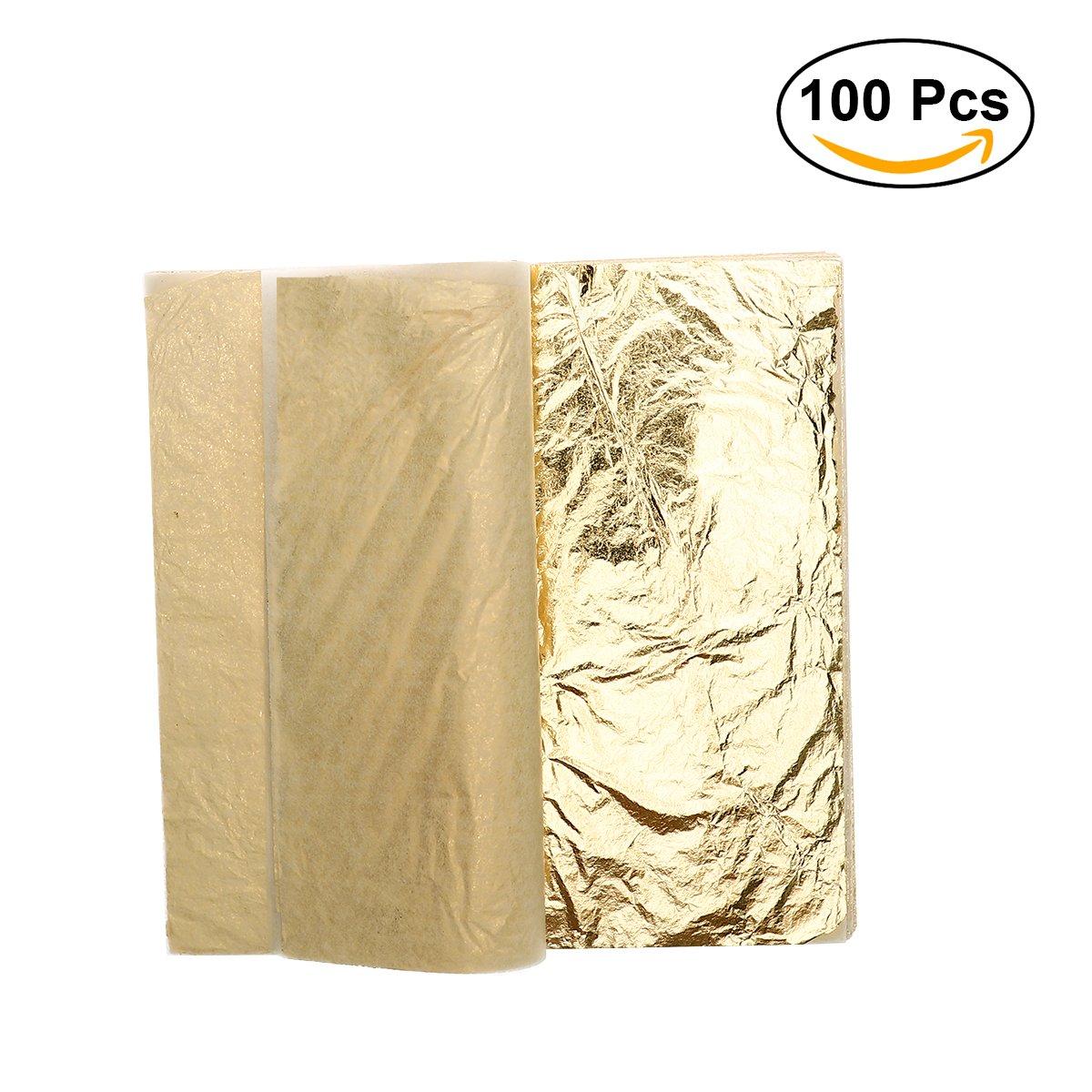 ROSENICE Gold Leaf Imitation 5.5 Inch for Art Crafts Gilding Crafting Frames 100 Sheets