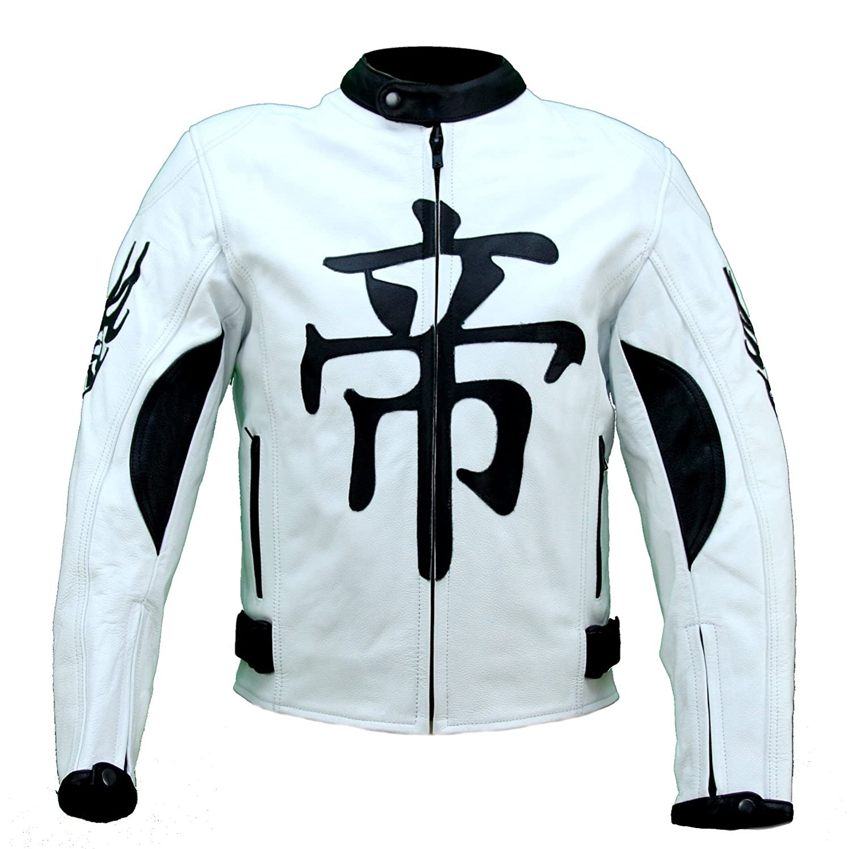 kc001 chaqueta piel moto quad Karno Demon Japan blanco ...