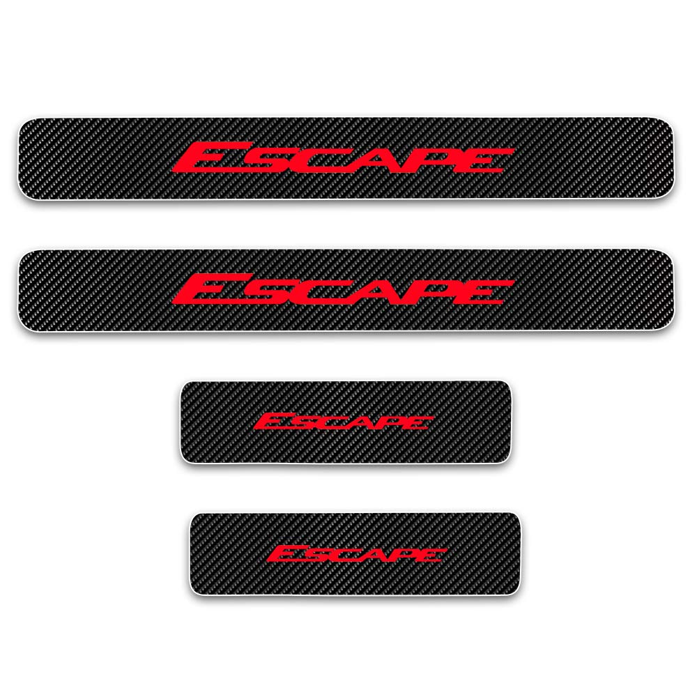 for Ford Escape Door Sill Protector Reflective 4D Carbon Fiber Sticker Door Entry Guard Door Sill Scuff Plate Stickers Auto Accessories 4Pcs Red SLONG