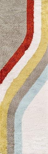 Novogratz Retro Collection Classic Shag Area Rug, 2 3 x 7 6 Runner, Multicolor