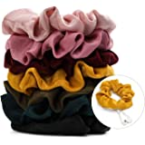 Tencel Velvet Scrunchies for Hair - Jaolex 7 Pieces Satin Hair Scrunchies with Pocket Zipper Hair Ties Elastic Hair Bands Ropes ponytails, top knots, braids, buns Hair Accessories