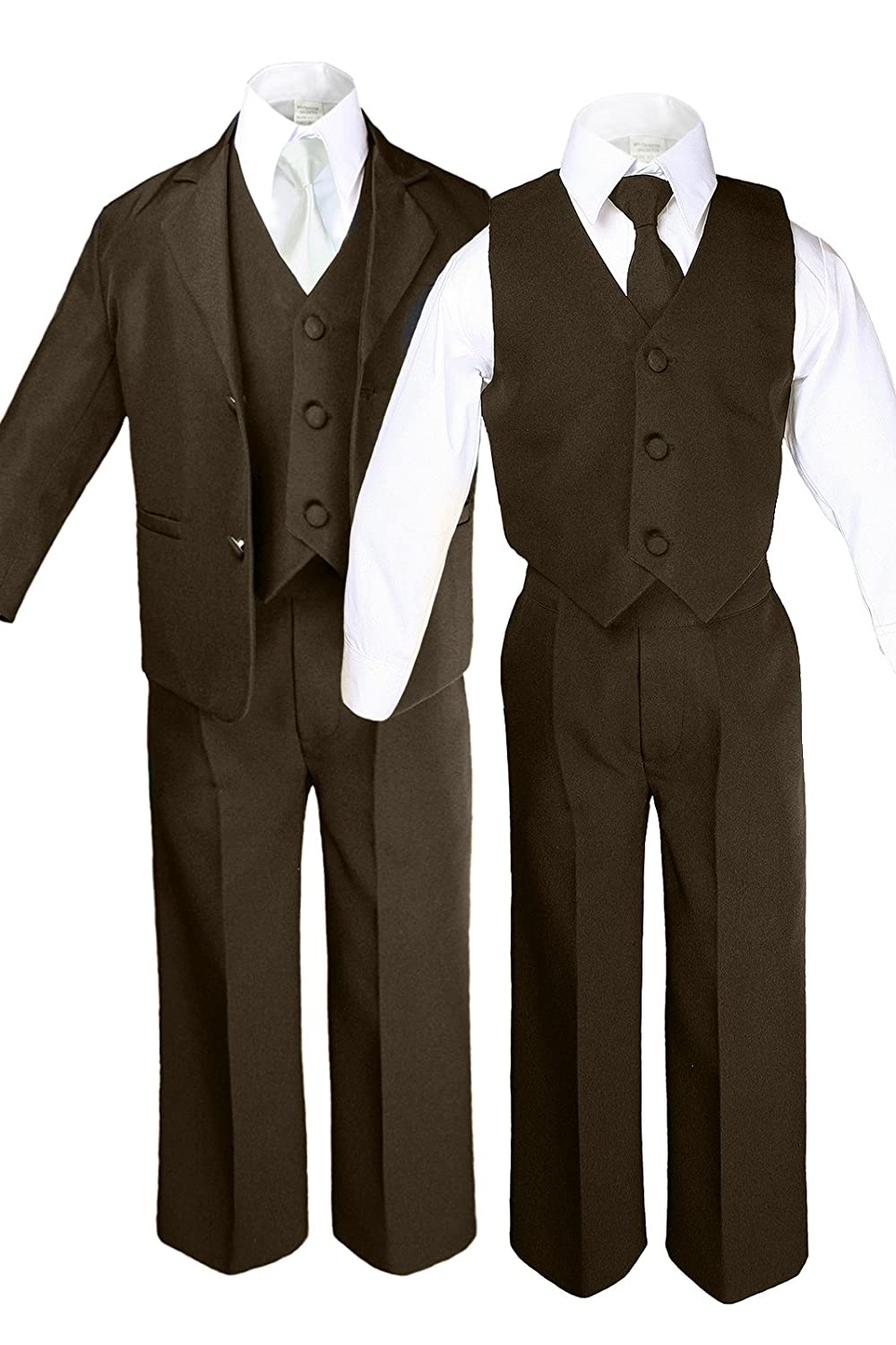 Unotux 6pc Boys Dark Brown Suits Sets with Satin Ivory Necktie Outfits All Size