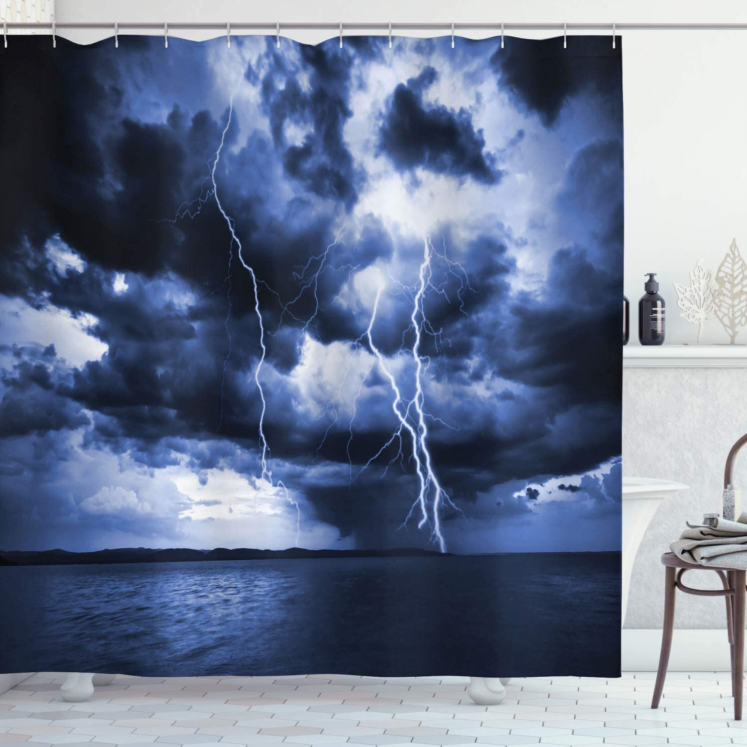 Ambesonne Nature Shower Curtain, Majestic Sky View with Huge Rain Clouds All Over The Sea and Vibrant Storm Rays Print, Cloth Fabric Bathroom Decor Set with Hooks, 70