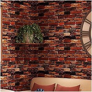 "White Gray Brick Wallpaper Grey Self-Adhesive Wallpaper Home Decoration Peel and Stick Backsplash Wall Panel Door Stickers Christmas Decor (45cmx300cm,17.7"" x 118"") (Rust Red)"
