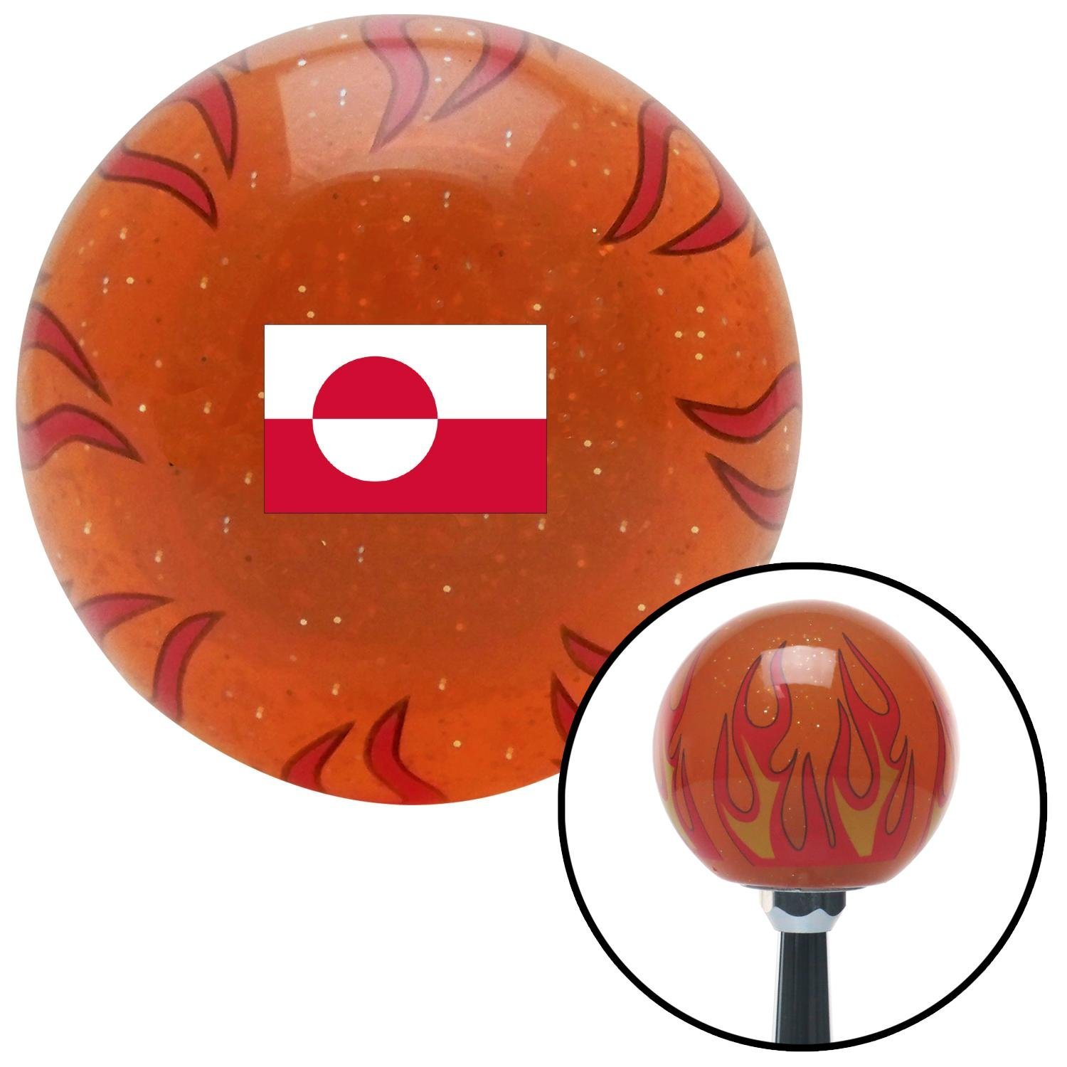 American Shifter 310772 Shift Knob Greenland Orange Flame Metal Flake with M16 x 1.5 Insert