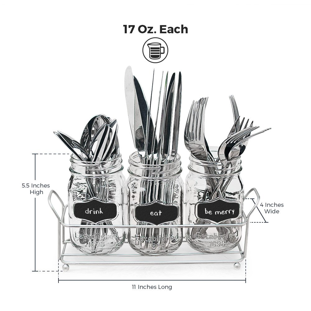 3-pc Mason Jar Flatware Caddies - 17 Oz. Vintage Clear Glass Utensil Organizer with Black Chalk Label on Metal Caddy with Handles - Lightweight Space-Saver Home and Party Drinkware Set by Emenest (Image #4)