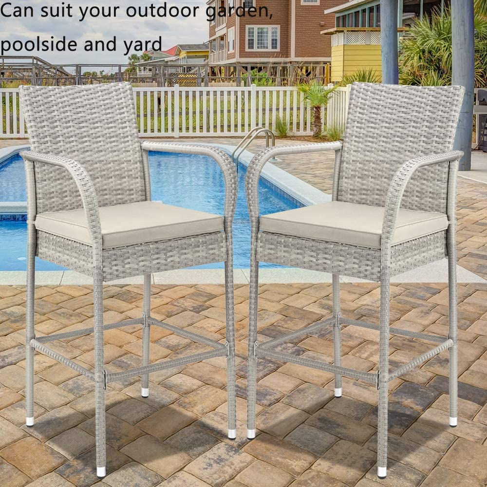 Patio Wicker Stools with Armrest and Cushions Rattan Chair for Pool Garden Set of 2