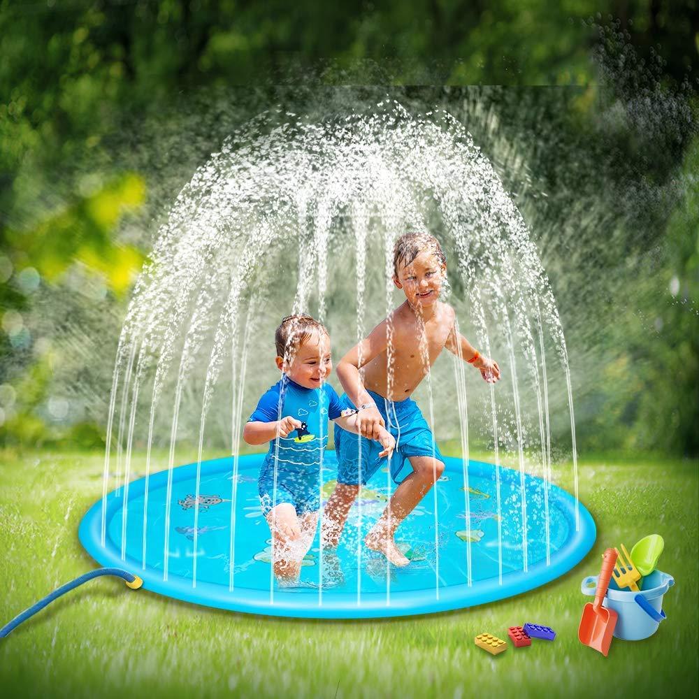 SOOPOTAY Baby Splash Pad for Kids Toddlers 68'', Kid Sprinkler Mat Water Toys (Blue) by SOOPOTAY