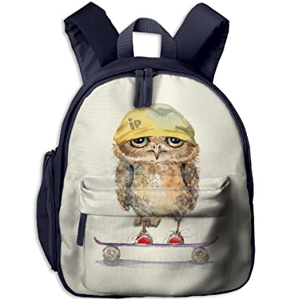 Skateboarding Owl Personalized Book Bag Lovely Cartoon Animal Kids School Daypack Outdoor Boy Kindergarten Backpacks 12.5""