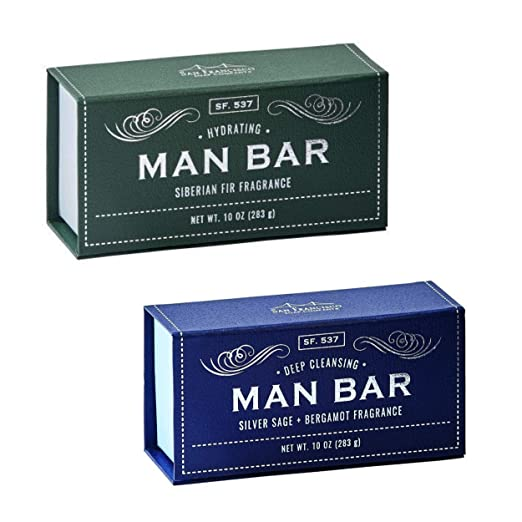 San Francisco Soap Co Man Bar 10 Oz Bar Soap Bundle - One Each Siberian Fir and Silver Sage
