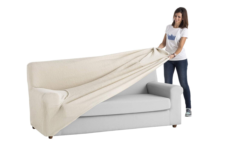 textil-home Funda de Sofá Elástica TEIDE, 3 plazas - Desde 180 a 240 cm. Color Marfil