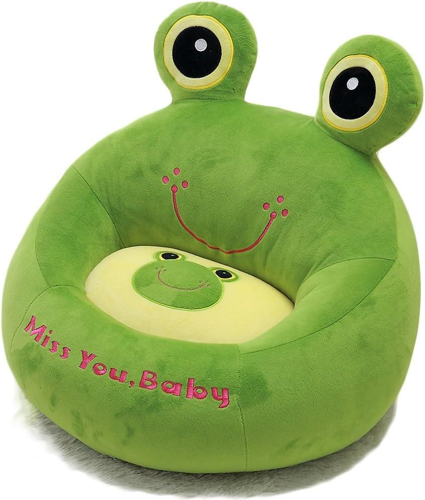 Puf infantil en forma de rana (cama y sofá para niños, algodón, asiento suave y cómodo), algodón, verde, 45CM