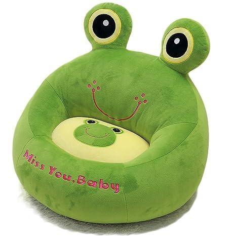 Vercart - Puf infantil en forma de rana (cama y sofá para niños, algodón, asiento suave y cómodo), algodón, verde, 45CM