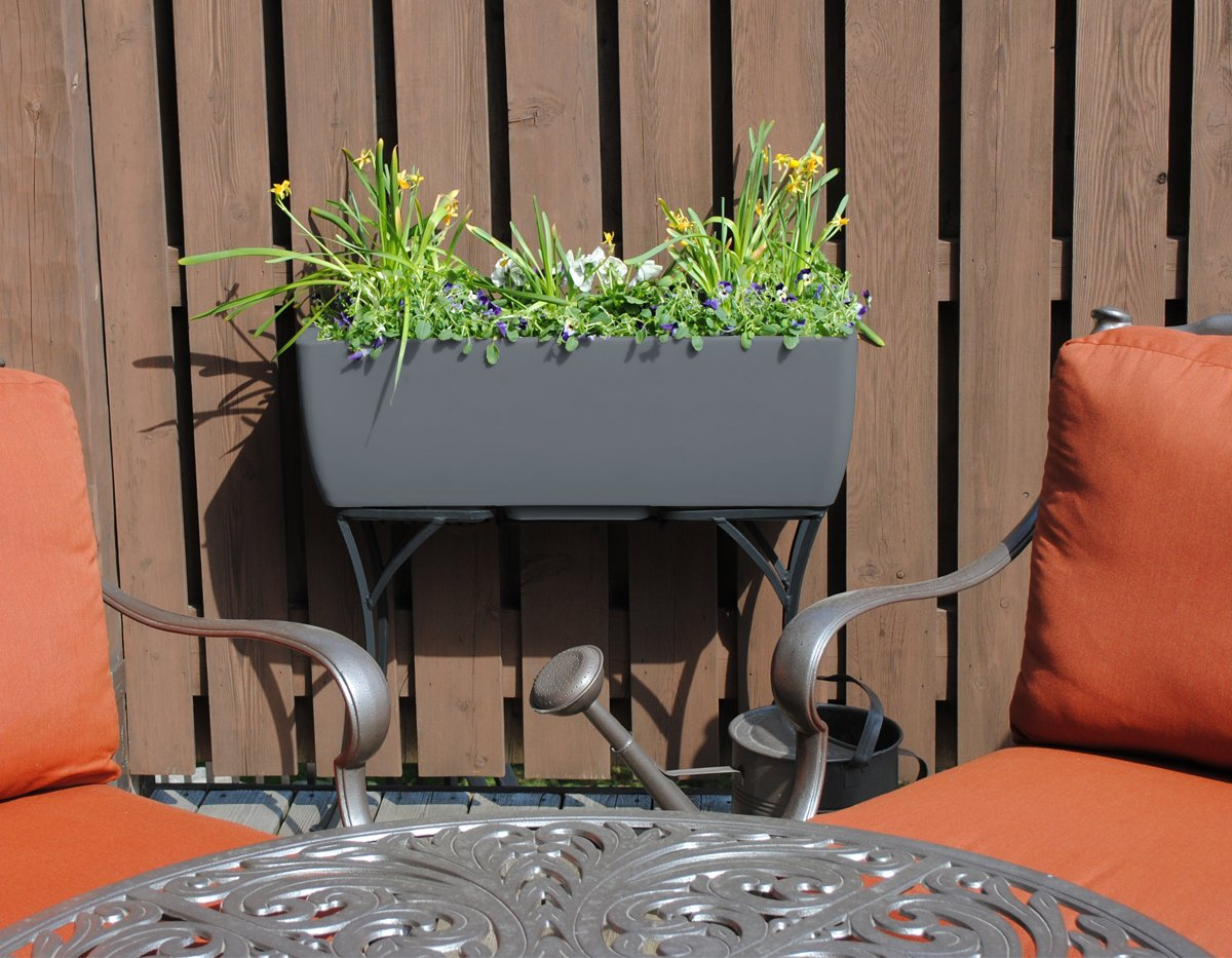 RTS Home Accents 30-Inch Long Elevated Planter with Wrought Iron Stand, Graphite Color by RTS Companies Inc