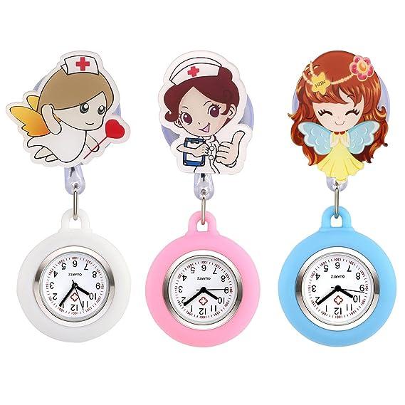 JSDDE Easy Pull - Reloj de Bolsillo de Silicona para Mujer con Broche de Clip para Colgar en la Enfermera, 3 Unidades: Amazon.es: Relojes
