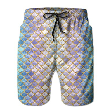 571c5d287f Fantasy Mermaid Fish Scales Mens Beach Shorts Summer Casual Swim Trunks  with Pockets