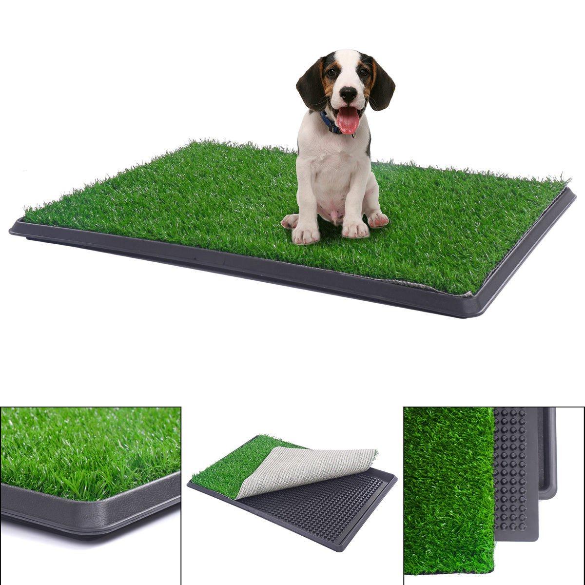 BringerPet 30''x20'' Puppy Pet Potty Training Pee Indoor Toilet Dog Grass Pad Mat Turf Patch