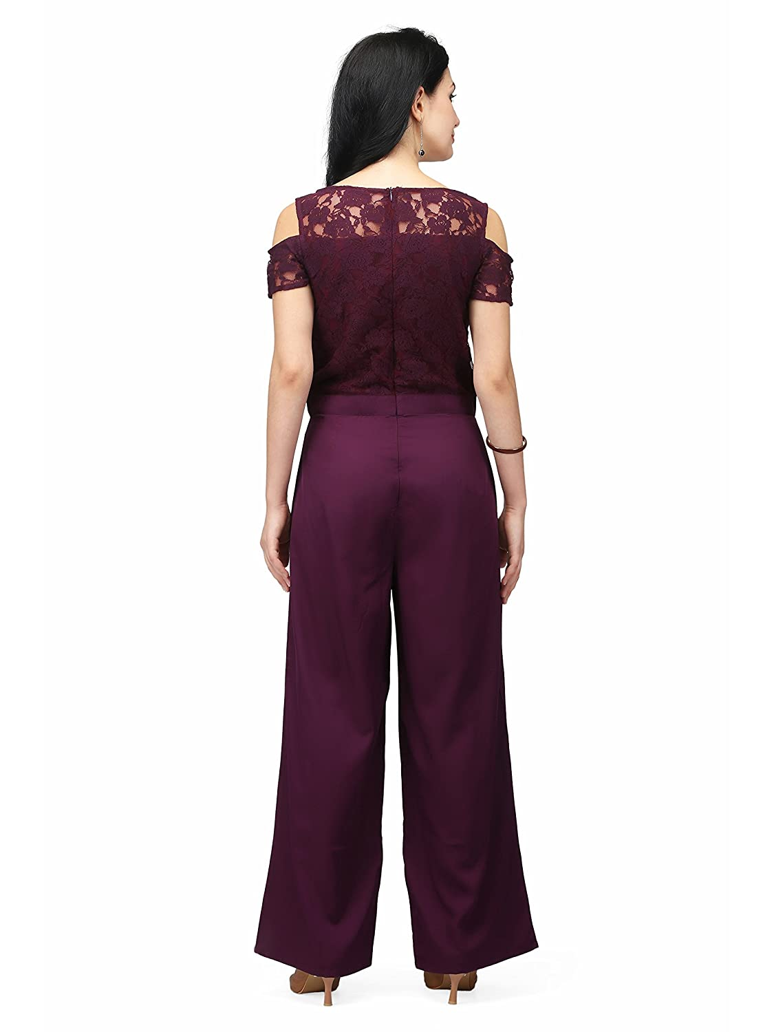 2e99f866d57 Eavan Women s Polyester A-Line Lace Jumpsuit Burgundy  Amazon.in  Clothing    Accessories