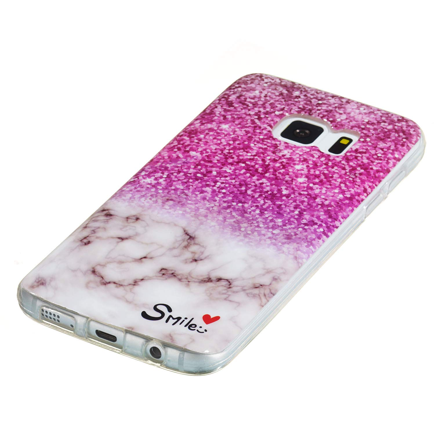 DAMONDY 3D Shiny Marble Pattern Hybrid Back Soft TPU Ultra-Thin Shock Absorption Slim Protective Case Phone Cover for Samsung Galaxy S7 2016-purple Amber Galaxy S7 Case