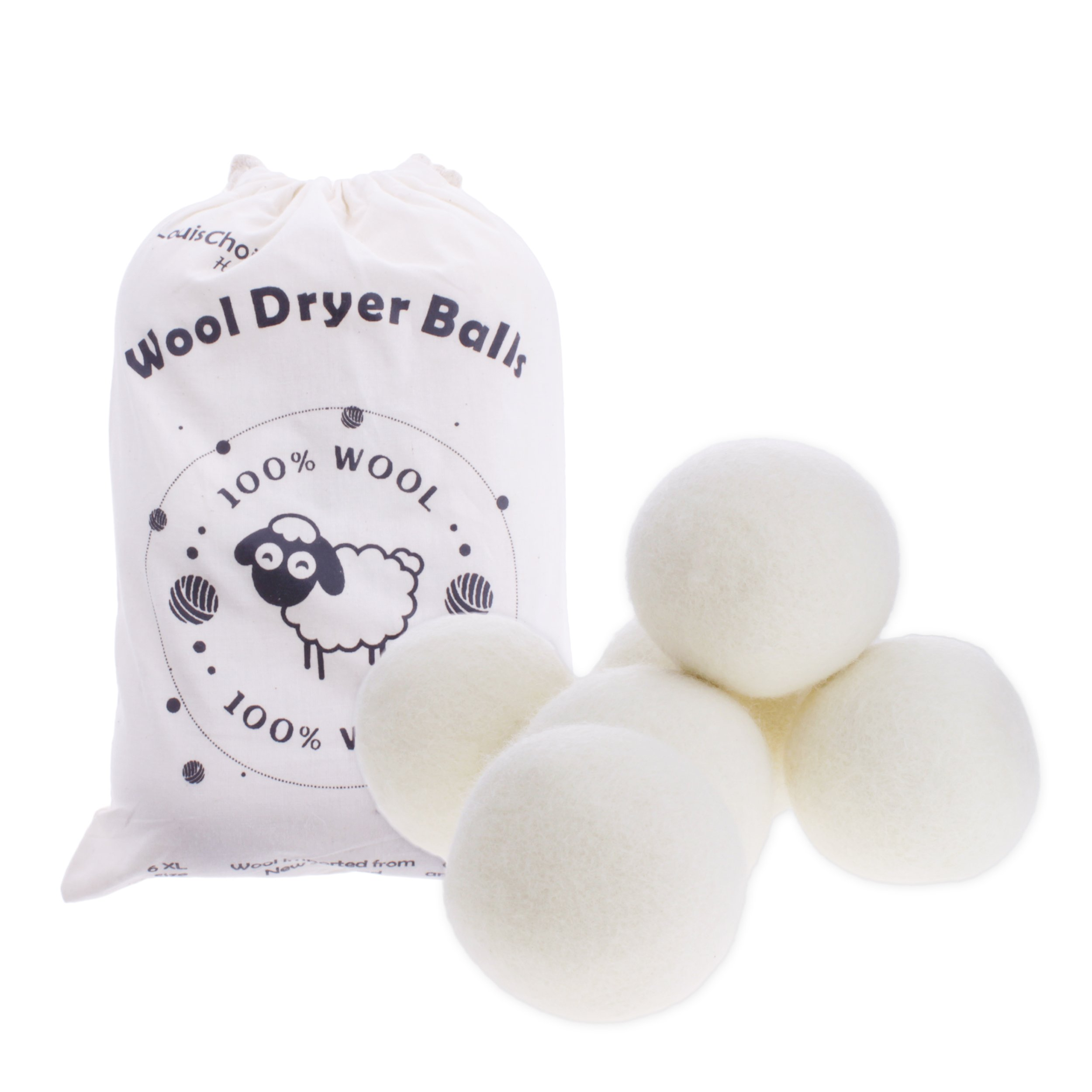 Wool Dryer Balls, by LouisChoice, Natural Wool Made, Organic Dryer Balls, Reusable, Large Size, Pack of 6