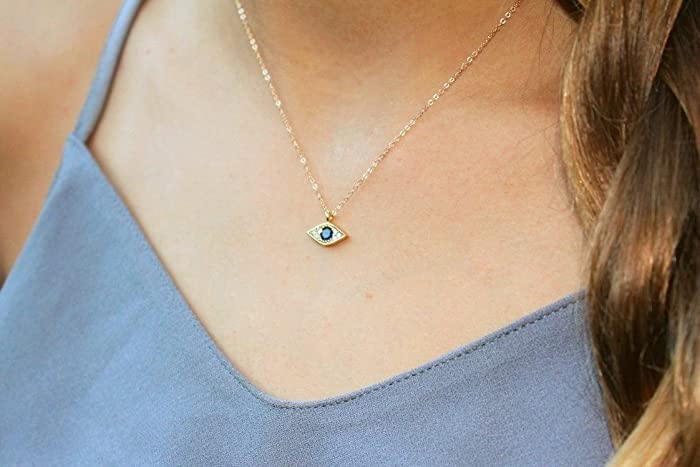 Amazon tiny evil eye necklace evil eye charm necklace unique tiny evil eye necklace evil eye charm necklace unique gift cz gold aloadofball Image collections