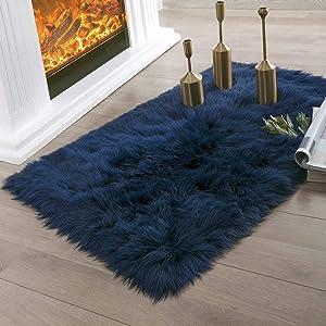 Ashler Faux Fur Navy Blue Rectangle Area Rug Indoor Ultra Soft Fluffy Bedroom Floor Sofa Living Room 2 x 3 Feet