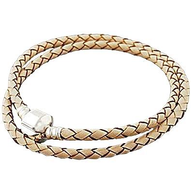 000563fd3 Image Unavailable. Image not available for. Color: Charm Buddy 45cm 22cm  Cream Leather Double Wrap Pandora Style Bracelet ...