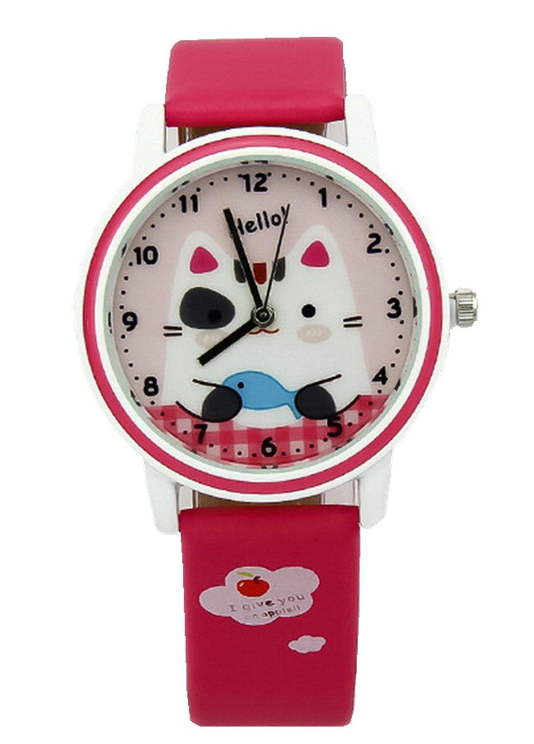 Kezzi Girls' Wrist Watches K667 Quartz Analog Cartoon Kids Leather Strap Watch Red by Kezzi