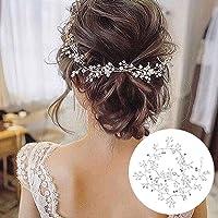 50cm Diadema Novia Boda, Tocados de Pelo Novia Diadema Cristal con Perlas Bridal Hair Vine Joyas para el Cabello…