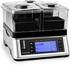 KLARSTEIN Electric Food Steamer • 1500 W • 7 Programs • 1 x Large and 2 x Small Cooking Chambers • Total capacity: 2 litres • Timer • Stainless Steel • Silver
