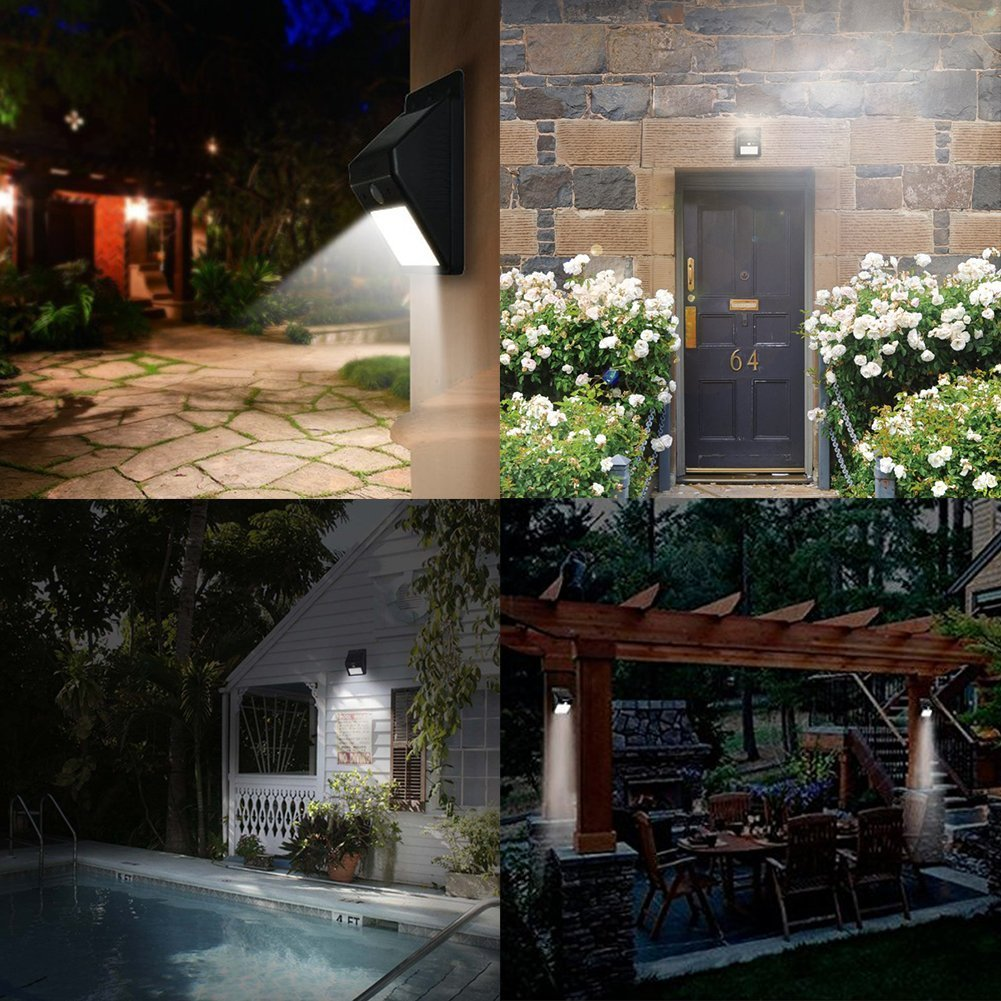 Solar powered security floodlights set of 2 motion activated solar powered security floodlights set of 2 motion activated lights wireless outdoor light 80 lumen ultra bright leds peel and stick best for patio aloadofball Choice Image