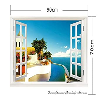 Chitop 3D Removable Beach Sea - 3D Window Scenery Wall Sticker - Home Decor Decals Mural