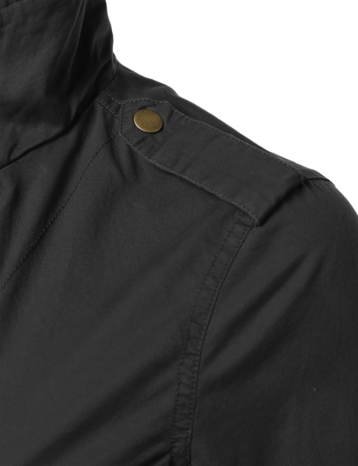Made by Emma Military Style Zipper Snap Button Closure Jacket Black L by Made by Emma (Image #4)