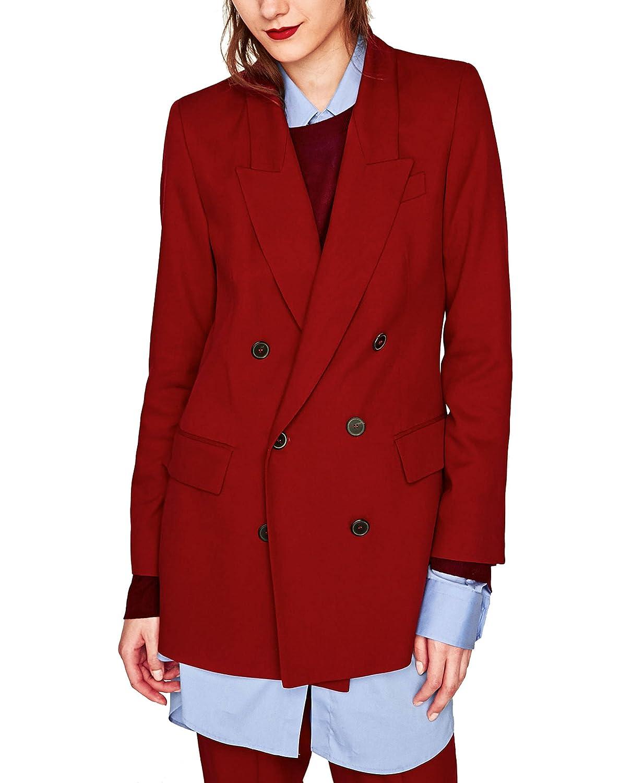 Zara - Abrigo - para mujer rojo rosso Medium: Amazon.es: Ropa y accesorios