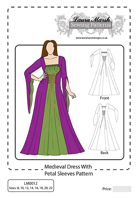 Medieval Dress Costume Petal Sleeves Sewing Pattern, Sizes 8-22 ...
