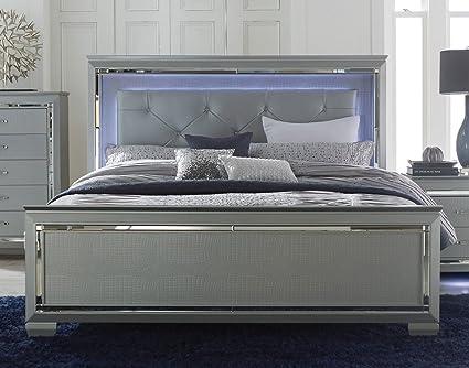 Amazon.com: Allura Panel Bed w/ LED Lighting in Silver   Queen