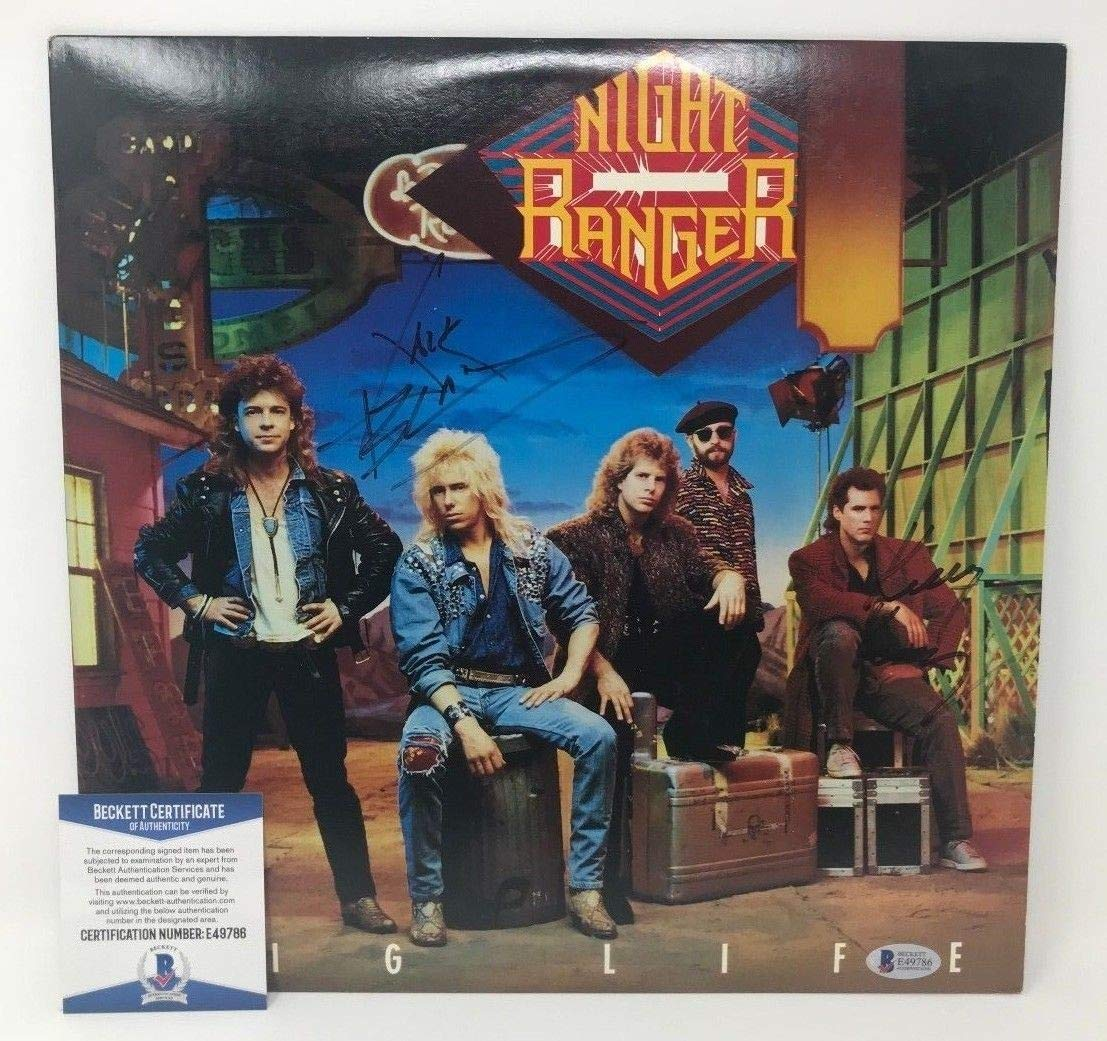 Night Ranger Autographed Signed Record Album Cover Lp Jack Blades Kelly Keagy Beckett Authentic