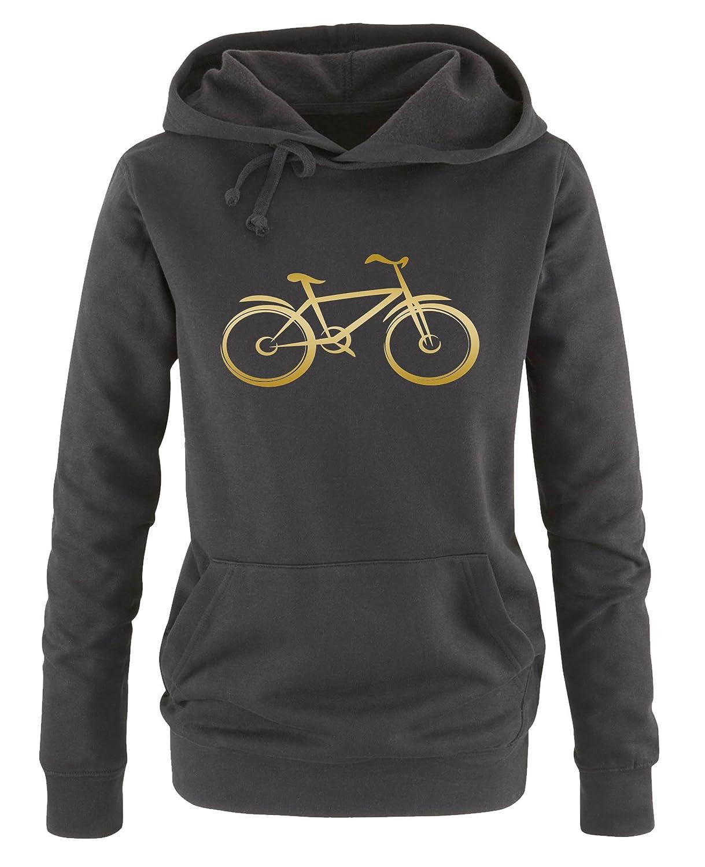 Fahrrad Kapuze Print-Pulli Langarm Damen Hoodie Comedy Shirts K/ängurutasche