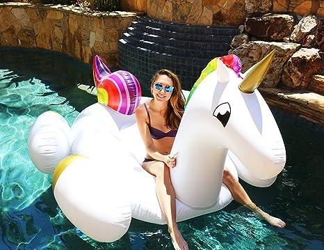 Flotador inflable en forma de unicornio tamaño gigante para la piscina o playa. Unicornio flotador
