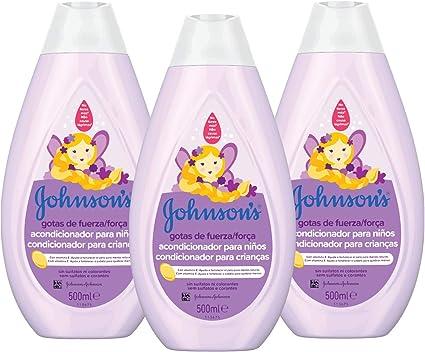 Johnsons Baby Gotas de Fuerza Acondicionador para Niños, Especialmente Diseñado para Ayudar a Fortalecer el Cabello - 3 x 500 ml: Amazon.es: Belleza