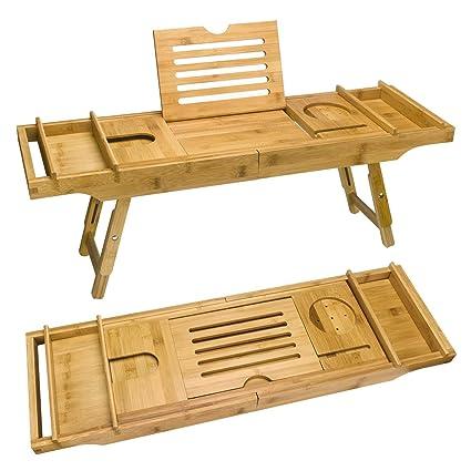 Amazon.com: FAMLOVE Bathroom Bathtub Caddy Tray, Bamboo Adjustable ...