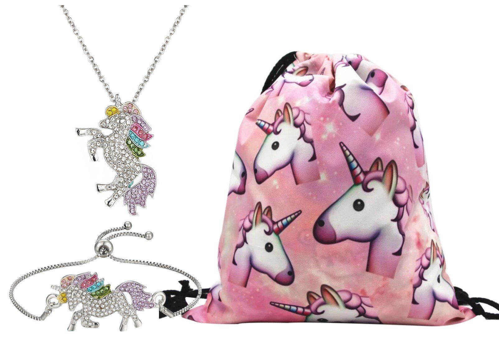 Unicorn Gifts for Girls 3 Pack - Unicorn Drawstring Backpack/Necklace/Bracelet (Pink)