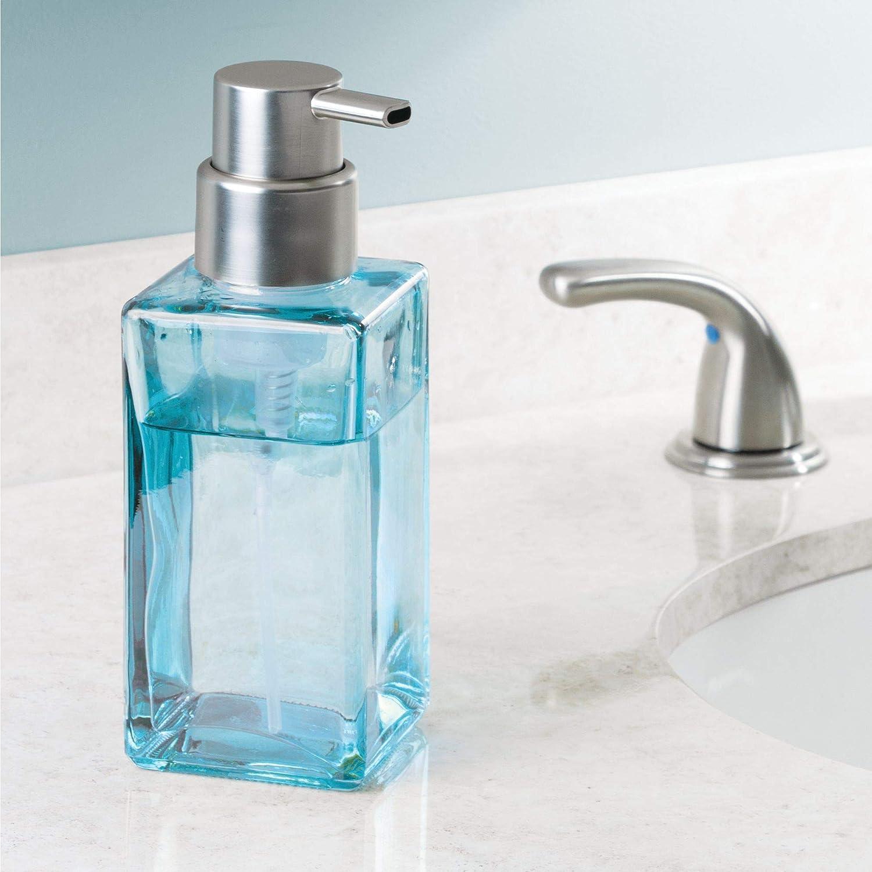 Blue InterDesign Casilla Glass Foaming Modern Soap Dispenser Pump for Kitchen and Bathroom Vanities