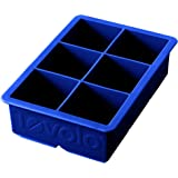 """Tovolo Inch Large King Craft Ice Mold Freezer Tray of 2"""" Cubes for Whiskey, Bourbon, Spirits & Liquor Drinks, BPA-Free Silicone, Set of 1, Stratus Blue"""