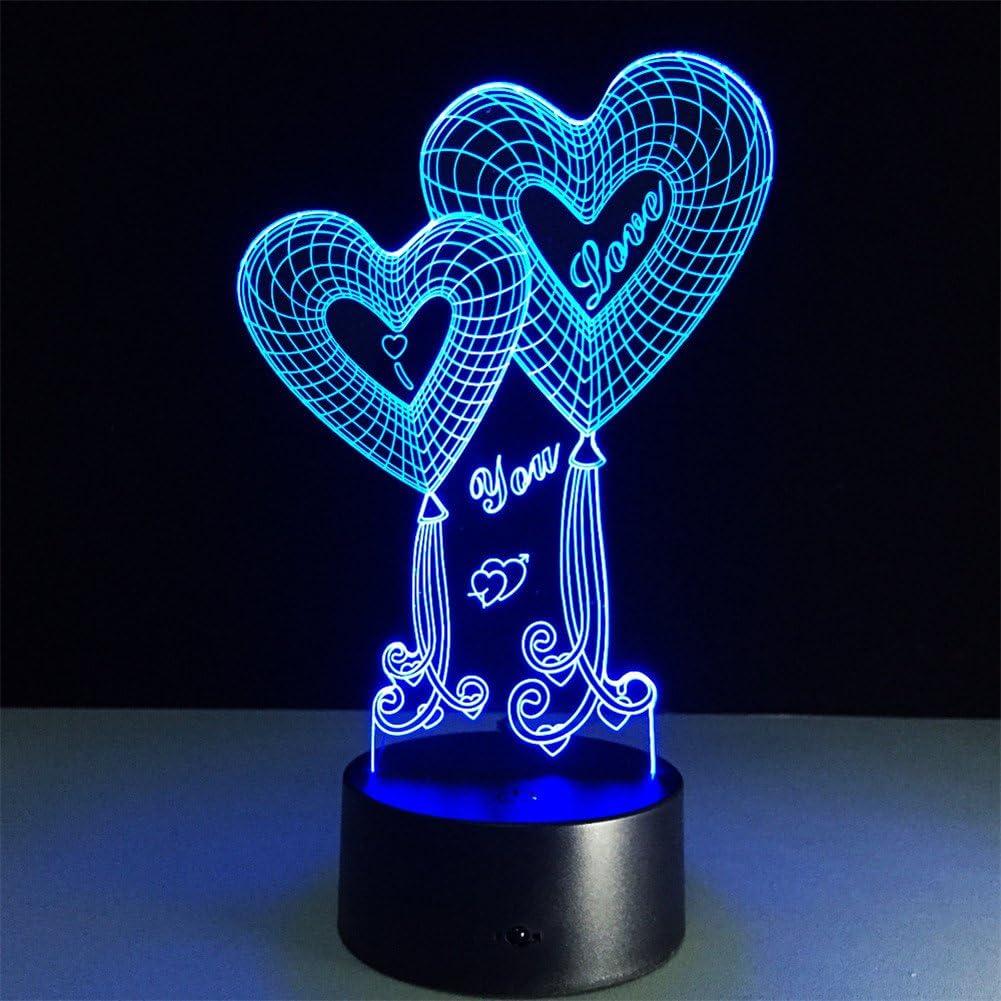 ATD® Doble globo Corazón TE AMO ilusión óptica 3D botón táctil 7 que cambia de color LED luz de la noche lámpara de escritorio, regalo romántico para el amante, esposa, novio o novia