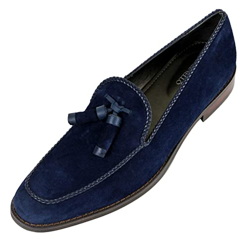 Blue Loafers Genuine Leather Shoes MS
